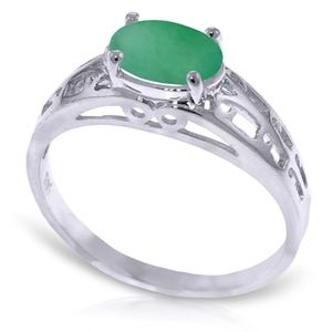 14K. SOLID GOLD FILIGREE RING WITH NATURAL EMERALD